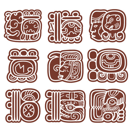 Mayan glyphs, writing system and languge vector design Ilustrace