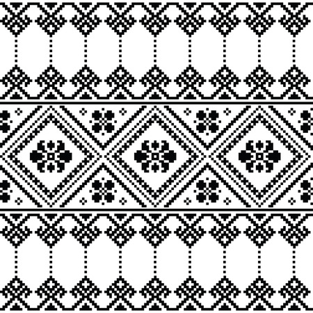 folk art: Ukrainian or Belarusian folk art black floral embroidery pattern or print Illustration