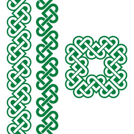 ethnographic: Celtic green Irish knots, braids and patterns