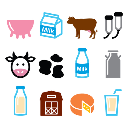 milking: Milk, cheese production, cow vector icons set
