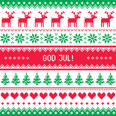swedish: God Jul pattern - Merry Christmas in Swedish, Danish or Norwegian Illustration