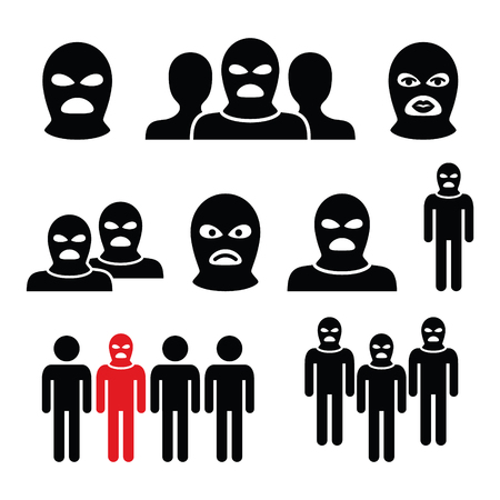 Terrorist group, dangerous people in balaclava icons set