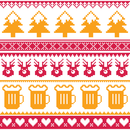 orange trees: Christmas seamless pattern with beer, reindeer and trees - red and orange isolated on white