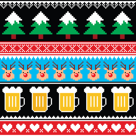 Christmas jumper or sweater seamless pattern with beer, reindeer and trees Vectores