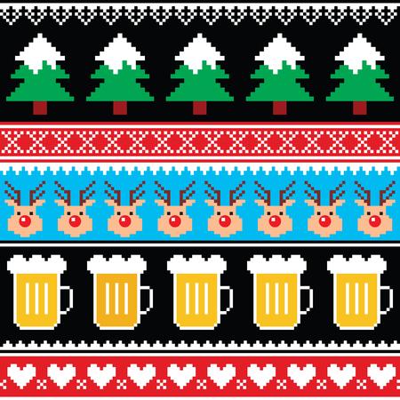 cerveza negra: puente de Navidad o suéter patrón transparente con la cerveza, renos y árboles