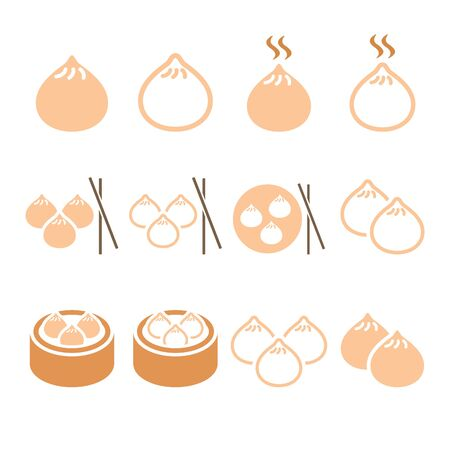 cantonese: Chinese dumplings, Asian food Dim Sum vector icons set Illustration