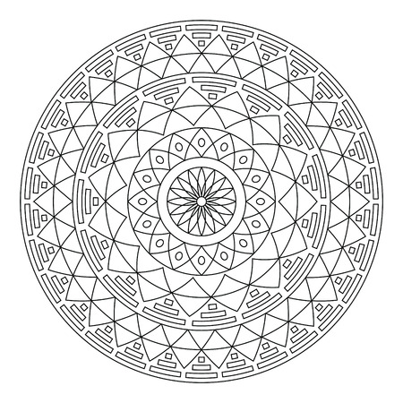 Tribal folk Aztec geometric pattern in circle - stroke
