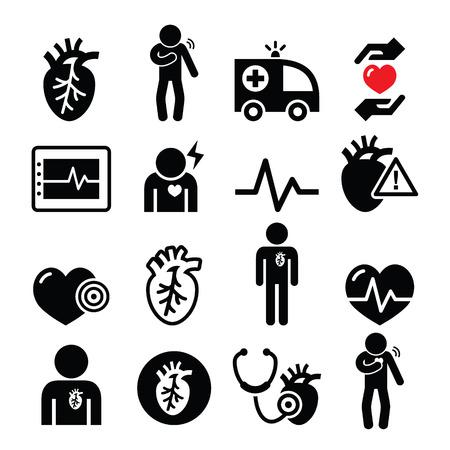 Les maladies cardiaques, les crises cardiaques, les icônes de maladies cardio-vasculaires fixés