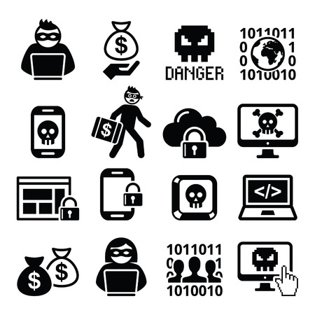 cyber attack: Hacker, cyber attack, cyber crime icons set Illustration