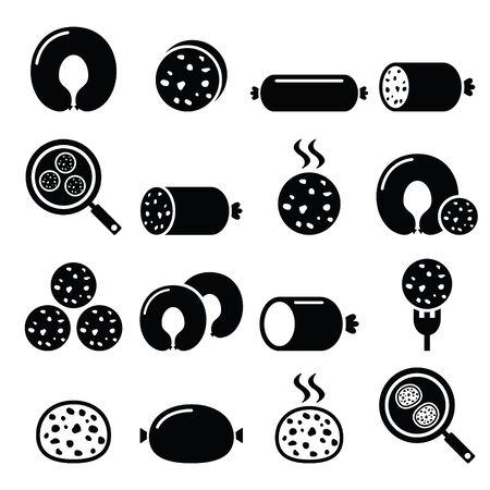 savoury: Black pudding sausage, haggis, white pudding icons set