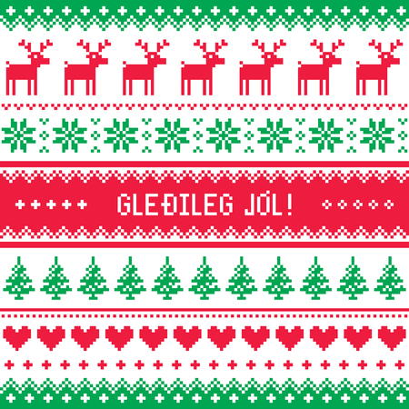 sueter: Gledileg Jol - Feliz Navidad en el patrón de Islandia, la tarjeta de felicitaciones Vectores