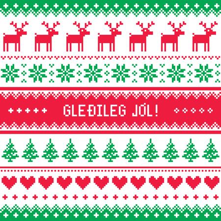 deer in heart: Gledileg Jol - Merry Christmas in Icelandic pattern, greetings card