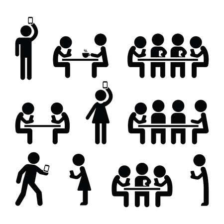 playing games: People on smartphones, walking and playing games, taking selfies icons Illustration