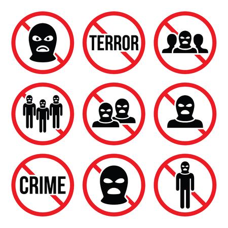 signos de precaucion: Detener el terrorismo, no hay delito, no hay señales de advertencia del grupo terrorista Vectores