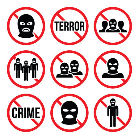 terrorism: Stop terrorism, no crime, no terrorist group warning signs