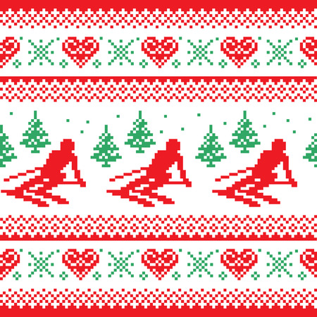 ugly man: Christmas, winter red and green seamless pattern - man skiing in mountains