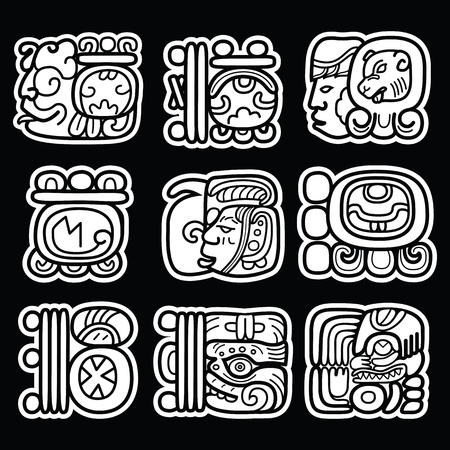 Maya glyphs, writing system and languge vector design  on black background Illustration