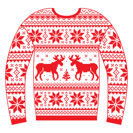 Ugly Christmas jumper or sweater with reindeer and snowflakes red pattern Illustration