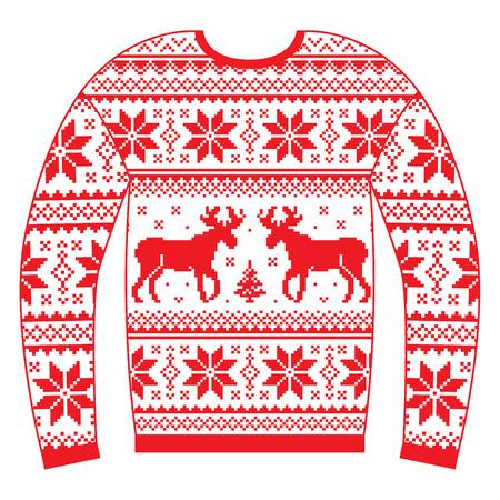 Lelijke kerst trui of trui met rendieren en sneeuwvlokken rood patroon