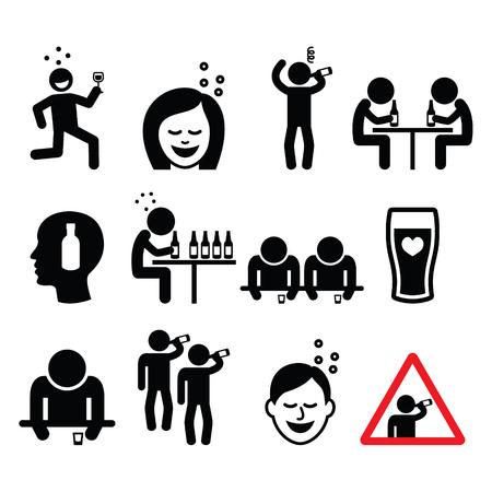 Dronken man en vrouw, mensen alcohol drinken iconen set