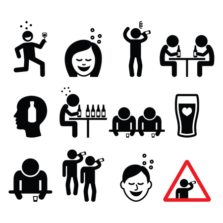 forbidden pictogram: Drunk man and woman, people drinking alcohol icons set