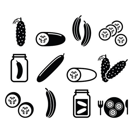 few: Cucumber, pickled, cucumber slices - food vector icons set Illustration