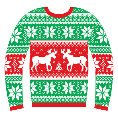 Ugly Christmas jumper or sweater with reindeer and snowflakes red and green pattern Vectores