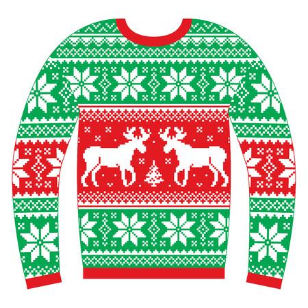 Ošklivý vánoční svetr nebo svetr s sobů a sněhové vločky červená a zelená vzorek
