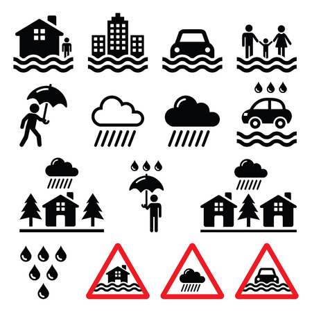 heavy rain: Flood, natural disaster, heavy rain icons set Illustration