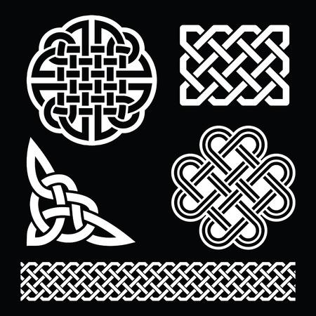 gaelic: Celtic white knots, braids and patterns on black background - St Patricks Day