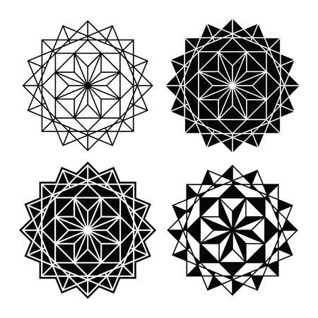 Geometric design, single abstract pattern set