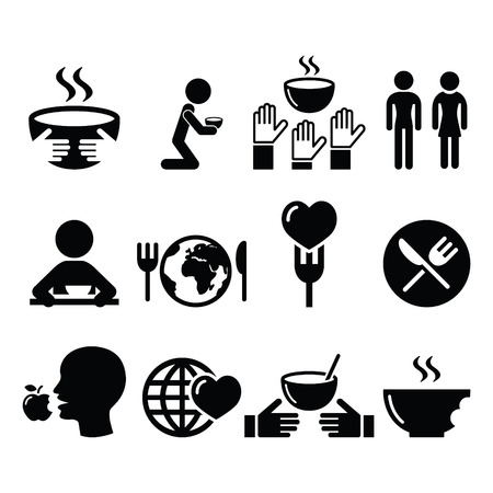 famine: Hunger, starvation, poverty icons set Illustration