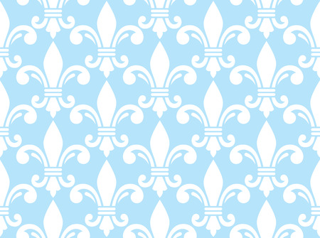 fleur of lis: Fleur de lis white and blue  pattern - French floral background Illustration