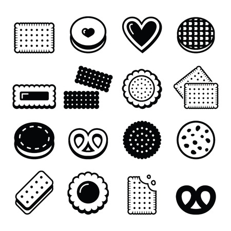 biscuits: Biscuit, cookie - food vector icons set