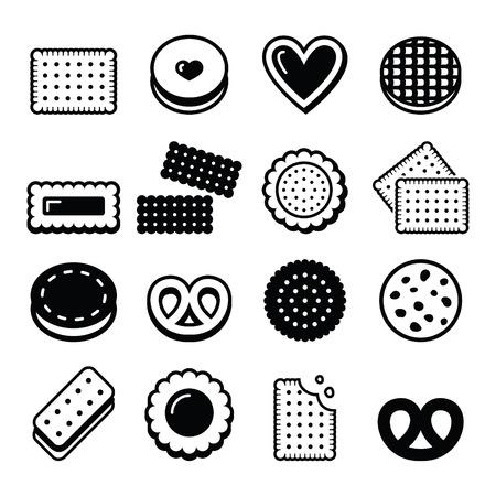 Biscuit, cookie - food vector icons set