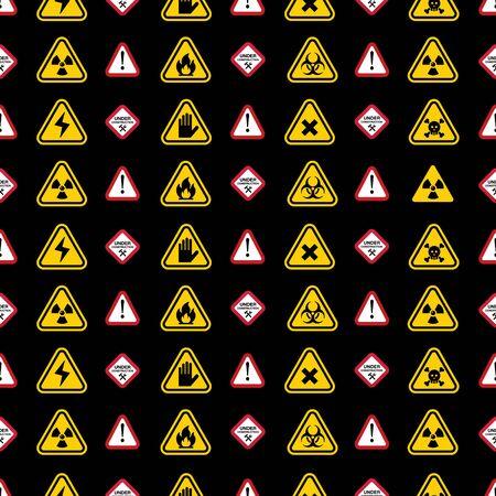 riesgo biologico: Las señales de advertencia patrón - triángulo de advertencia, señales de peligro Vectores