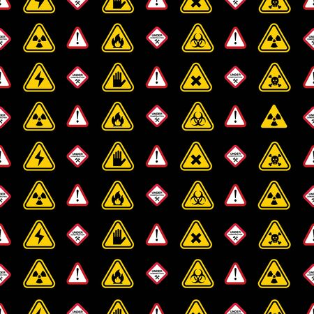 precautions: Warning signs pattern - triangle warning, danger signs