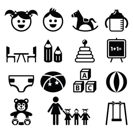 caballo bebe: Jard�n de infancia, guarder�a, preescolar iconos set Vectores