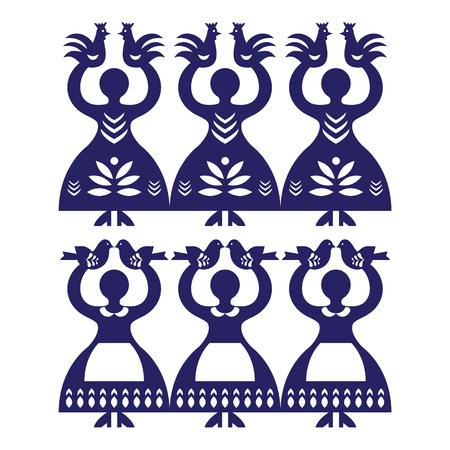 folk art: Polish folk art pattern Wycinanki Kolbielskie - Kolbiel Papercuts with women holding birds