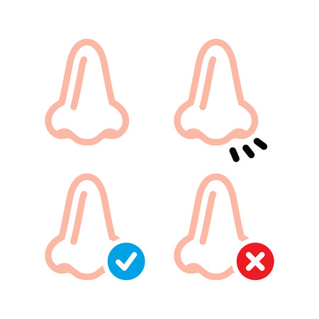 using senses: Nose, smell, human vid vector icons set