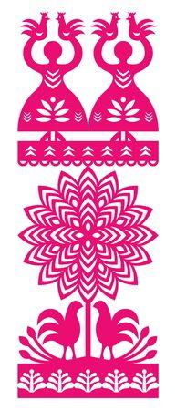 folk art: Polish folk art pattern Wycinanki Kurpiowskie - Kurpie Papercuts Illustration