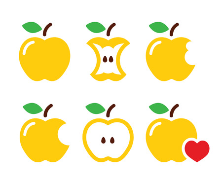 core: Yellow apple, apple core, bitten, half vector icons