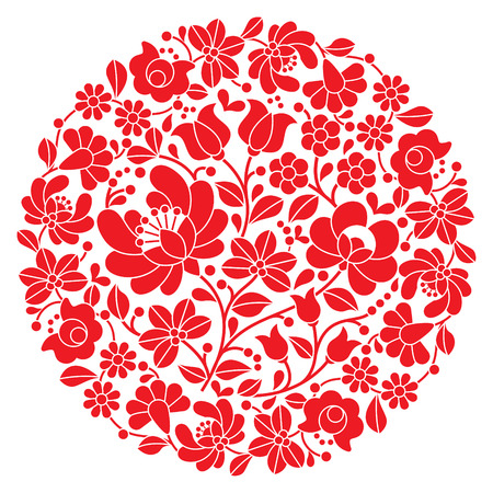Kalocsai folk art embroidery - red Hungarian round floral folk pattern Illustration