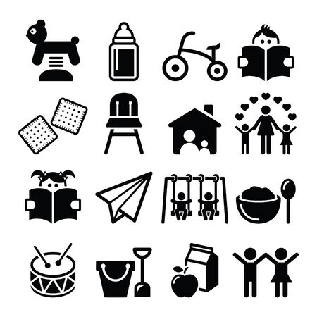 creche: Baby or toddler in nursery or day care icons set