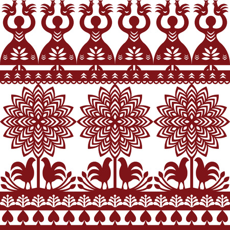 folk art: Seamless Polish folk art pattern Wycinanki Kurpiowskie - Kurpie Papercuts Illustration