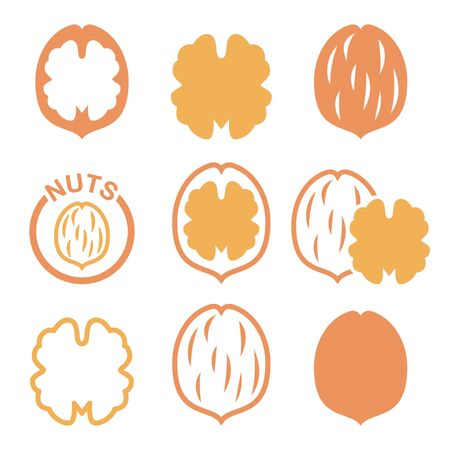 Walnut, nutshell vector icons set