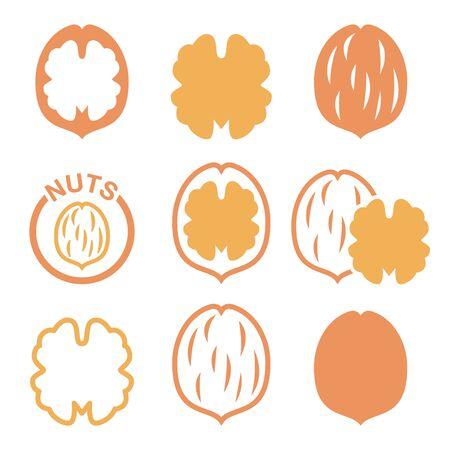 Walnut, icônes vectorielles nutshell définies