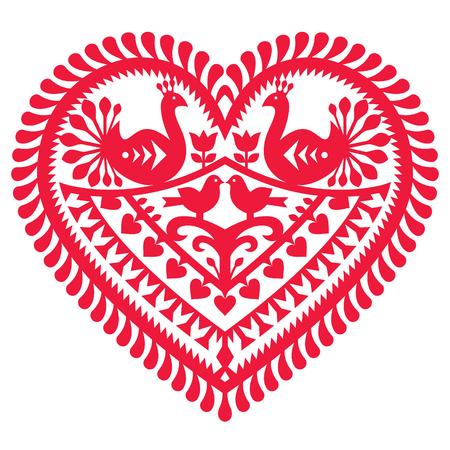 Polish folk art pattern for Valentine's Day - Wycinanki Kurpiowskie (Kurpie Papercuts) Vector Illustration