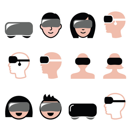 interacting: Virtual reality headset for 3D gaming, viewing icons Illustration