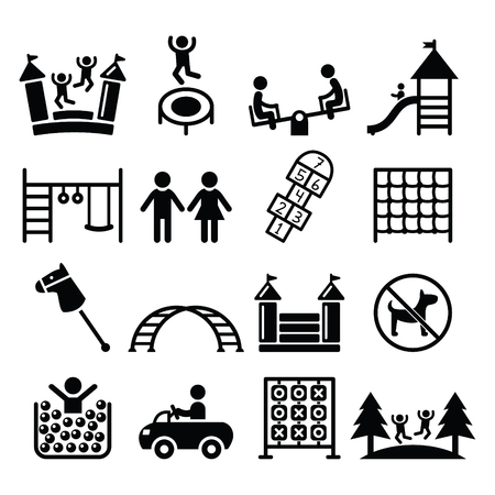 Kids playground, outdoor or indoor place for children to play icons set Illustration
